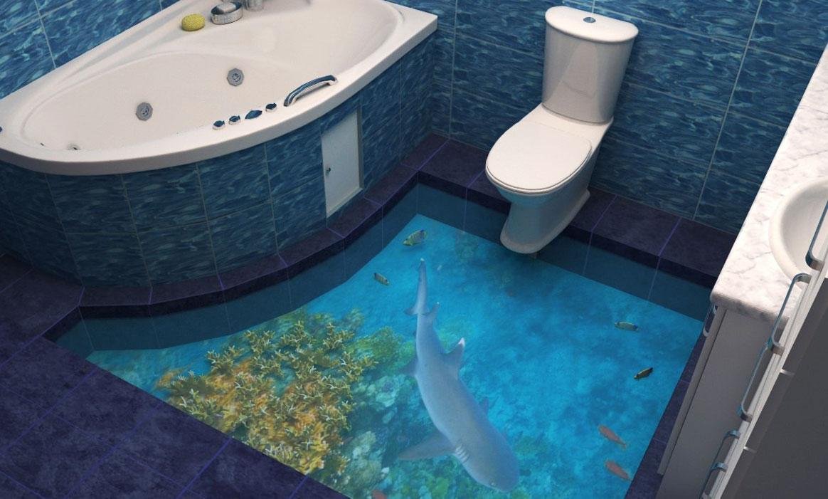 Наливной 3D пол в ванной