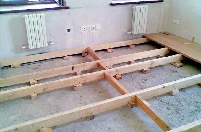 Дощатый пол на лагах по бетонному основанию