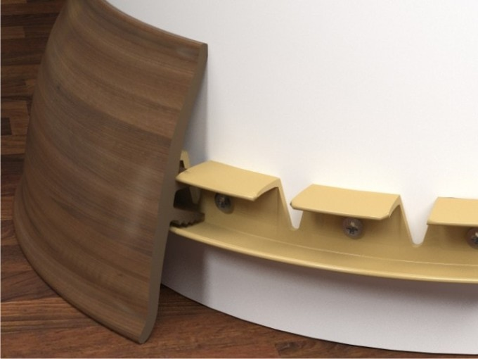 Гибкий напольный плинтус может быть установлен двумя способами