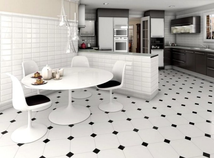 Керамическая плитка на полу смотрится очень роскошно
